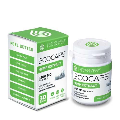Ecocaps Hemp Extract CBD Capsules, 30ct Bottle