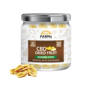 FARMa Edibles CBD Dried Fruit, Banana Chips, 1000 mg Jar