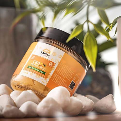 FARMa Edibles CBD Dried Fruit Diced Pineapple 250 mg jar