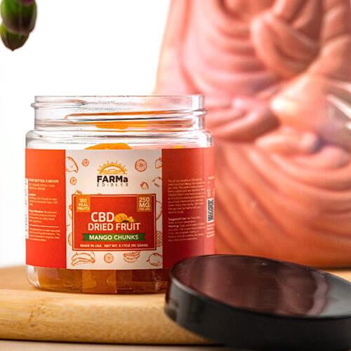 FARMa Edibles CBD Dried Fruit, Mango Chunks, 250 mg Jar