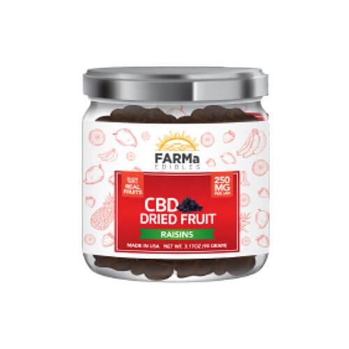 Farma Edibles CBD Dried Fruit Raisins 250 mg jar